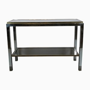 Italian Brass & Chrome Console Table by Willy Rizzo, 1970s