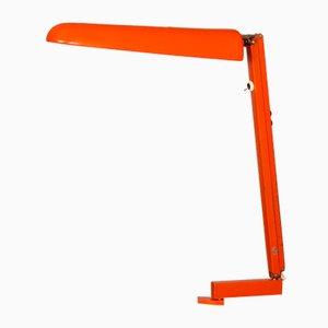 Orangefarbene Tischlampe aus Metall & Fiberglas von FAX, 1970er