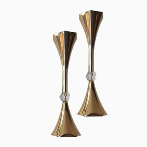 Gold Plated Candleholders from Asmussen, 1960s, Set of 2