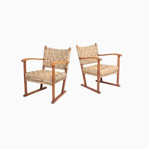 Danish Beech & Seagrass Lounge Chairs by Fritz Hansen, 1940s, Set of 2
