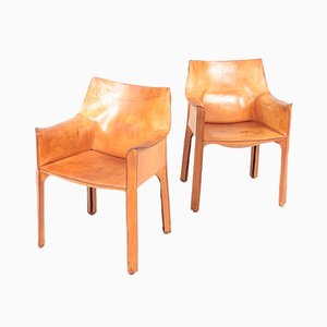 Leather CAB Armchairs by Mario Bellini for Cassina, 1970s, Set of 2