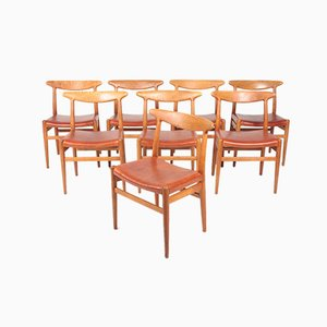 Danish Oak & Leather W2 Dining Chairs by Hans J. Wegner for C.M. Madsen, 1960s, Set of 8