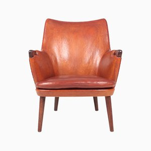 Leather & Rosewood Bear Lounge Chair by Hans J. Wegner for A.P. Stolen, 1950s