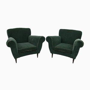 Italian Velvet & Solid Wood Lounge Chairs, 1950s, Set of 2