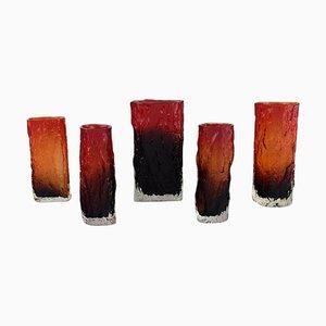 Finnish Mouth-Blown Art Glass Vases by Kaj Blomqvist for Kumela, 1970, Set of 5