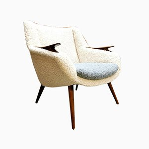 Mid-Century Danish 2-Tone Bouclé Upholstery Lounge Chair