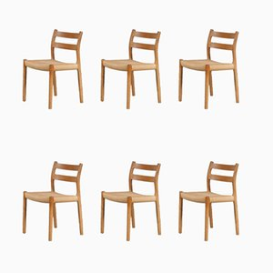 No. 84 Oak Dining Chairs by Niels Otto Møller for J.L. Møllers, Set of 6