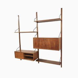Elm Wall Unit by Poul Cadovius for Royal System, Denmark, 1950s