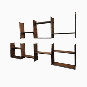 Large 19-Section Wall Unit or Freestanding Shelving, 1960s