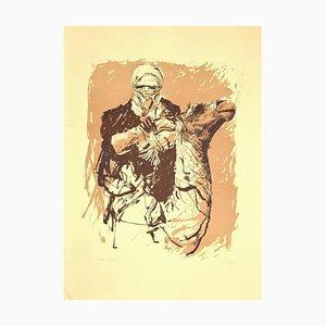 Sergio Barletta, Kamel, Lithografie auf Karton, 1980er