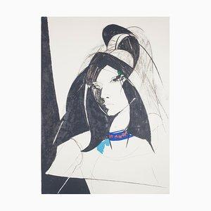 Sandro Trotti, Junge Frau, Lithografie, 1980er