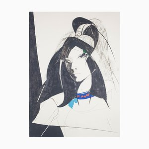 Sandro Trotti, Young Woman, Lithograph, 1980s