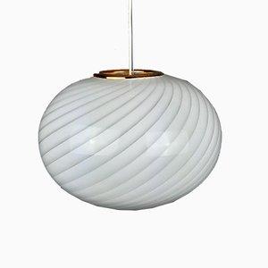 Vintage Italian White-Gold Swirl Glass Pendant Lamp, 1970s