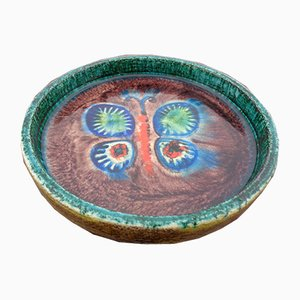 Majolica Butterfly Ceramic Bowl, 1960s
