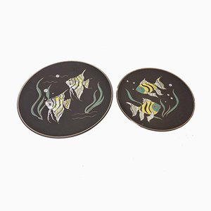 Vintage 717 Ceramic Plates with Fishes from Ruscha, 1970s, Set of 2
