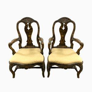 Schwedische Gustavianische Armlehnstühle, 19. Jahrhundert, 2er Set