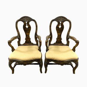 Swedish Gustavian Style Armchairs, Late 19th Century, Set of 2