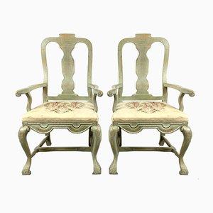 Antique Swedish Gustavian Style Armchairs, 19th Century, Set of 2