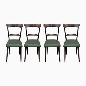 Beech & Walnut Dining Chairs, 1950s, Set of 4