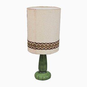 Green Ceramic Table Lamp, 1950s