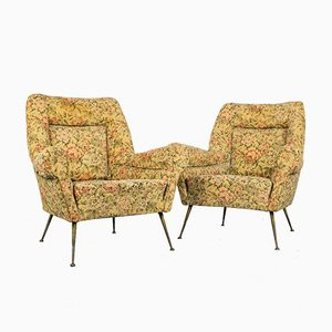 Vintage Fabric Lounge Chairs with Brass Feet, 1950s, Set of 2