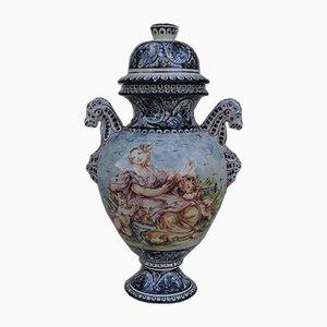 Hand-Painted Ceramic Vase from Turi D'Albissola, 1980s