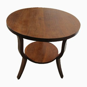 Art Deco Walnut Tripod Pedestal Table, 1930s