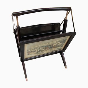 Beech Wood & Brass Magazine Rack, 1950s