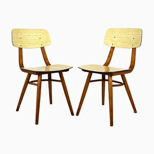 Vintage Formica & Wood Dining Chairs from TON, 1960s, Set of 2