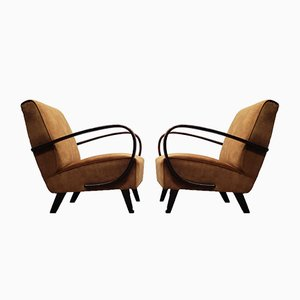 Beech Bentwood & Brown Velvet Armchair by Jindřich Halabala for Interier Praha, 1930s
