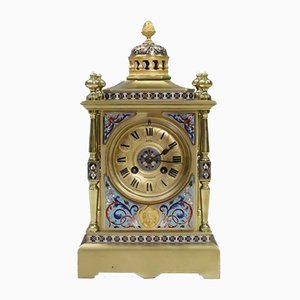 French Napoleon III Brass and Champleve Mantel Clock by Japy Freres, 1860s