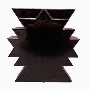 Italienische Schwarze Mid-Century Y28 Keramikvase von Ettore Sottsass, 1980er