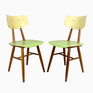 Vintage Wooden Dining Chairs from TON, 1960s, Set of 2