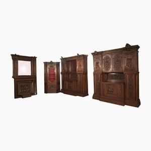 Aufbewahrungsset aus Nussholz, 17er Set, 1800er