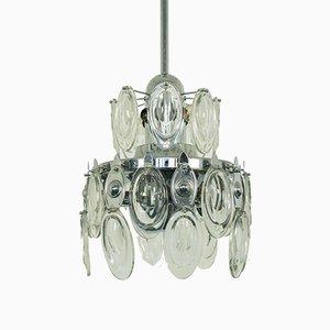 Lampada da soffitto vintage a 12 luci in metallo cromato di Gaetano Sciolari, anni '70