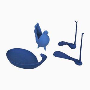 Blaue Wohnaccessoires aus Keramik von Lineasette Ceramiche, 2000er, 4er Set