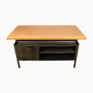 Large Industrial Wood & Aluminium Desk, 1970s