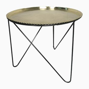 Mid-Century Round Tripod Brass Coffee Table with Black Metal Base, 1950s
