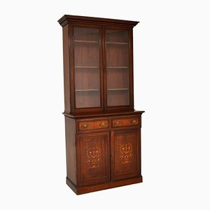 Antique Victorian Inlaid 2-Section Bookcase