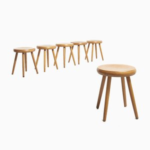 Charlotte Perriand Style Lacquered Beech Wood Stools, 1960s, Set of 6