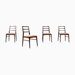 Afrormosia & Velvet Dining Chairs by Richard Hornby for Fyne Ladye, 1960s, Set of 4