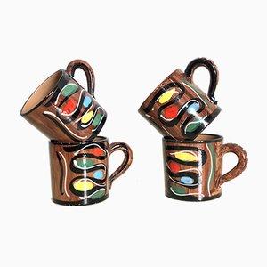Handbemalte italienische Keramikbecher von Deruta, 1960er, 4er Set