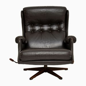 Mid-Century Leather Swivel Lounge Chair from Millbrook Furnishing, 1960s