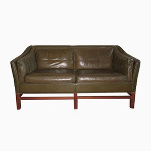 Danish Teak & Olive Green Leather Sofa from Grant, 1960s