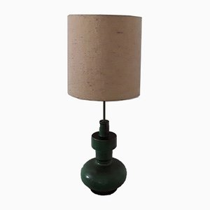 Large Ceramic Table Lamp with Wool Shade, 1970s