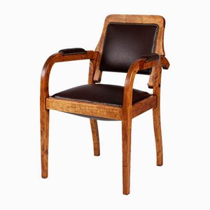 Vintage Frisierstuhl mit verstellbarer Rückenlehne & Drehsitz von Büsser Möbel, 1920er