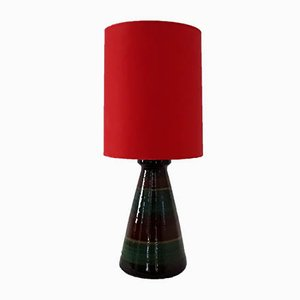 Glazed Ceramic Table Lamp with Red Fabric Shade, 1970s