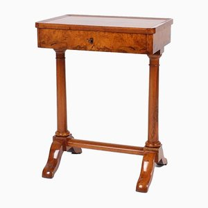 Antique Biedermeier Walnut Side Table with Drawer, South Germany, 19th Century