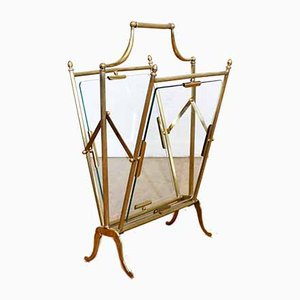 Italian Brass & Glass Magazine Rack, 1950s