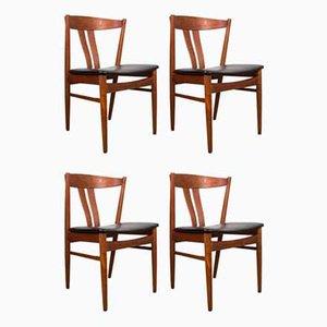 Danish Teak & Black Leatherette Side Chairs by Carl Ewert Ekström for Vejle Mobelfabrik, 1960s, Set of 4